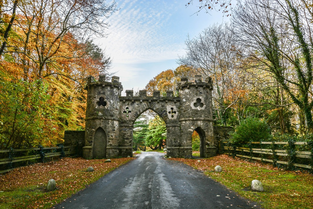 Tollymore Park Gate, Autumn park, Belfast, Northern Ireland